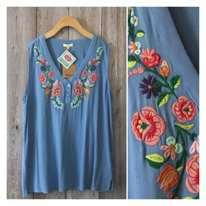 Kori Blue Floral Embroidered Sleeveless Top